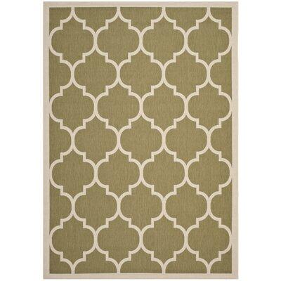 Short Green/Beige Indoor/Outdoor Area Rug Rug Size: Rectangle 67 x 96