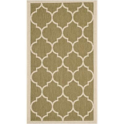 Short Green/Beige Indoor/Outdoor Area Rug Rug Size: Rectangle 2 x 37