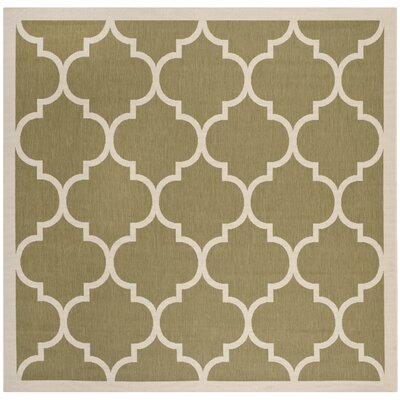 Short Green/Beige Indoor/Outdoor Area Rug Rug Size: Square 53