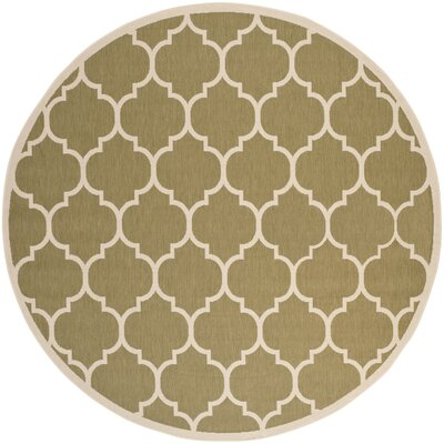 Short Green/Beige Indoor/Outdoor Area Rug Rug Size: Round 710