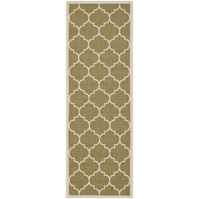 Short Green/Beige Outdoor Area Rug Rug Size: Runner 23 x 67