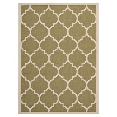 Short Green/Beige Outdoor Area Rug Rug Size: 9 x 12