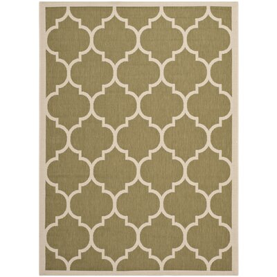 Short Green/Beige Indoor/Outdoor Area Rug Rug Size: Rectangle 53 x 77