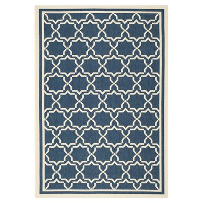 Short Navy & Beige Indoor/Outdoor Area Rug Rug Size: Rectangle 2 x 37