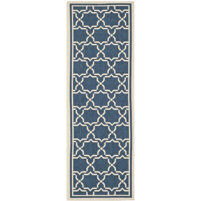 Short Navy & Beige Indoor/Outdoor Area Rug Rug Size: Runner 23 x 67