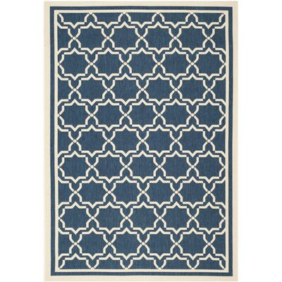 Short Navy & Beige Indoor/Outdoor Area Rug Rug Size: 53 x 77