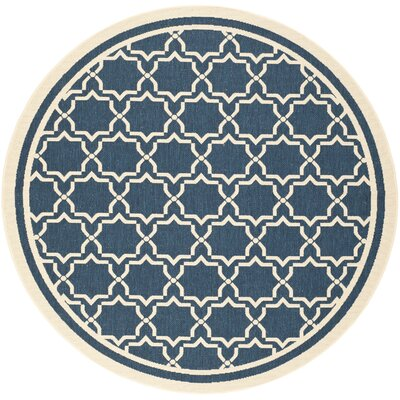Short Navy & Beige Indoor/Outdoor Area Rug Rug Size: Round 67