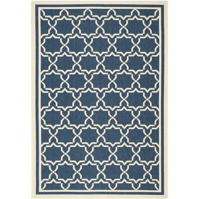 Short Navy & Beige Indoor/Outdoor Area Rug Rug Size: Rectangle 67 x 96