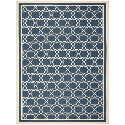 Short Navy & Beige Indoor/Outdoor Area Rug Rug Size: Rectangle 8' x 11'
