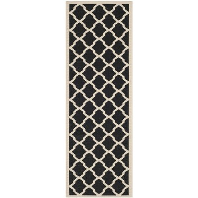 Short Black/Beige Trellis Outdoor Rug Rug Size: Runner 23 x 14