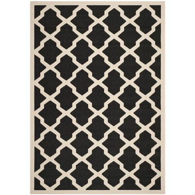 Short Black/Beige Trellis Outdoor Rug Rug Size: 8 x 11