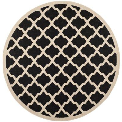 Short Black/Beige Trellis Outdoor Rug Rug Size: Round 710