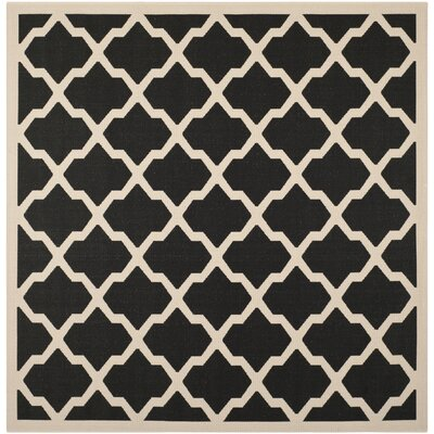 Short Black/Beige Trellis Outdoor Rug Rug Size: Square 4
