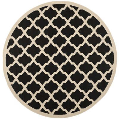 Short Black/Beige Trellis Outdoor Rug Rug Size: Rectangle 53 x 77