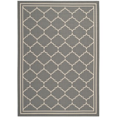 Short Grey/Beige Outdoor Rug Rug Size: 53 x 77