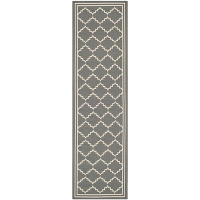 Short Gray/Ivory Indoor/Outdoor Area Rug Rug Size: Rectangle 27 x 5
