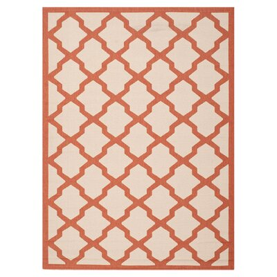 Short Beige/Terracotta Outdoor Area Rug Rug Size: 8 x 11