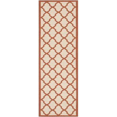 Short Beige/Terracotta Indoor/Outdoor Area Rug Rug Size: Runner 23 x 67
