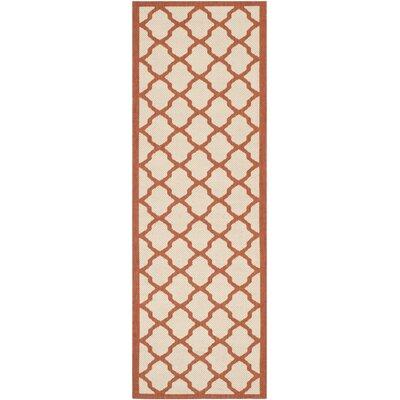Short Beige/Terracotta Indoor/Outdoor Area Rug Rug Size: Rectangle 27 x 5