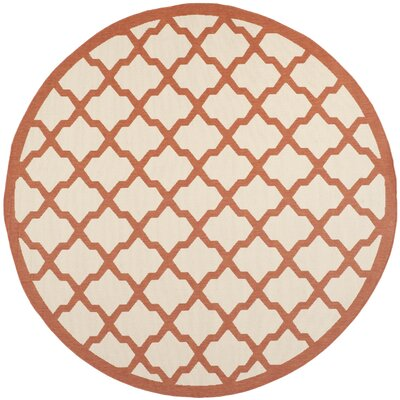 Short Beige/Terracotta Indoor/Outdoor Area Rug Rug Size: Round 710
