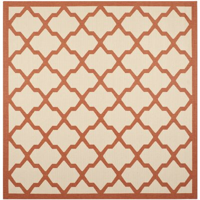 Short Beige/Terracotta Indoor/Outdoor Area Rug Rug Size: Square 710