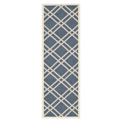 Short Ivory/Blue Indoor/Outdoor Area Rug Rug Size: Runner 23 x 10