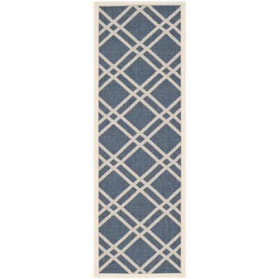 Short Ivory/Blue Indoor/Outdoor Area Rug Rug Size: Rectangle 27 x 5