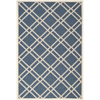 Short Navy/Beige Outdoor Rug Rug Size: 53 x 77