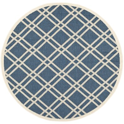 Short Ivory/Blue Indoor/Outdoor Area Rug Rug Size: Round 53