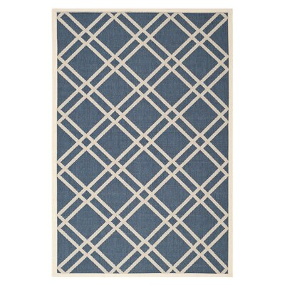 Short Navy/Beige Outdoor Rug Rug Size: 67 x 96