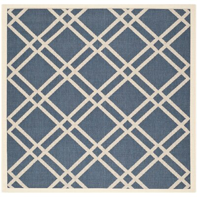 Short Ivory/Blue Indoor/Outdoor Area Rug Rug Size: Square 67