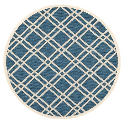 Short Ivory/Blue Indoor/Outdoor Area Rug Rug Size: Round 4