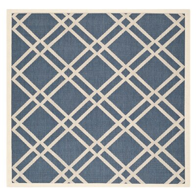 Short Ivory/Blue Indoor/Outdoor Area Rug Rug Size: Square 4
