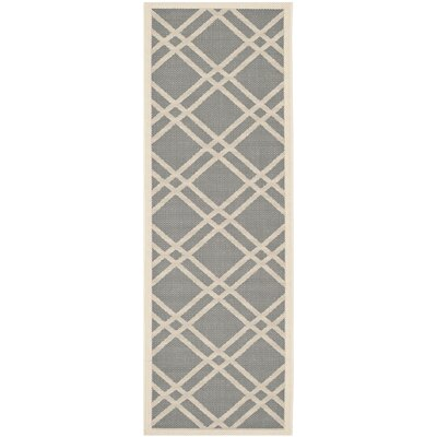 Short Gray/Ivory Indoor/Outdoor Area Rug Rug Size: Runner 23 x 67