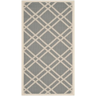 Short Gray/Ivory Indoor/Outdoor Area Rug Rug Size: Rectangle 9 x 12