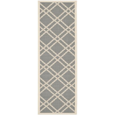 Short Gray/Ivory Indoor/Outdoor Area Rug Rug Size: Runner 23 x 10