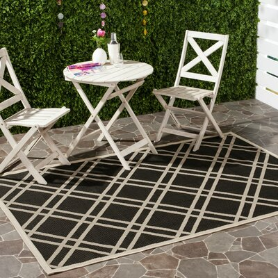 Short Black/Beige Indoor/Outdoor Rug Rug Size: Runner 23 x 10