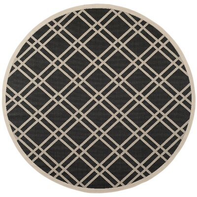 Short Black/Beige Indoor/Outdoor Rug Rug Size: Round 710