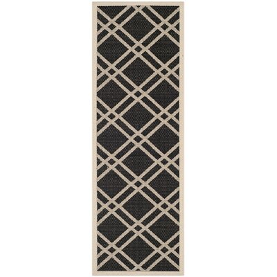 Short Black/Beige Crisscross Outdoor Rug Rug Size: Runner 23 x 67