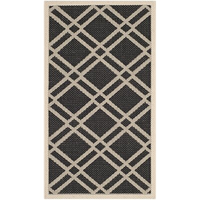 Short Black/Beige Indoor/Outdoor Rug Rug Size: Rectangle 2 x 37