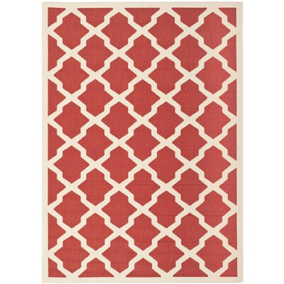 Short Red & Bone Indoor/Outdoor Area Rug Rug Size: Runner 23 x 10