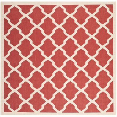 Short Red & Bone Indoor/Outdoor Area Rug Rug Size: Square 4