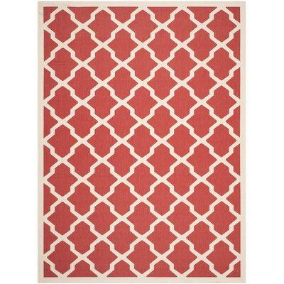 Short Red & Bone Indoor/Outdoor Area Rug Rug Size: 8 x 11