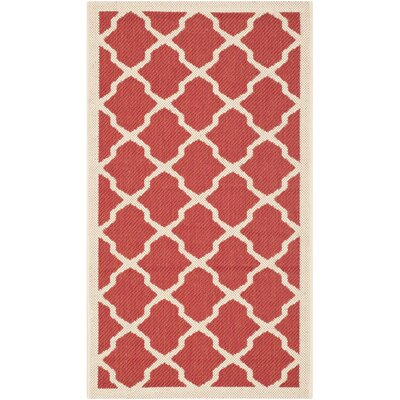 Short Red & Bone Indoor/Outdoor Area Rug Rug Size: Rectangle 2 x 37