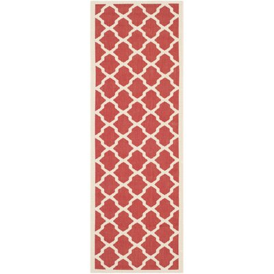 Short Red & Bone Indoor/Outdoor Area Rug Rug Size: Rectangle 4 x 57
