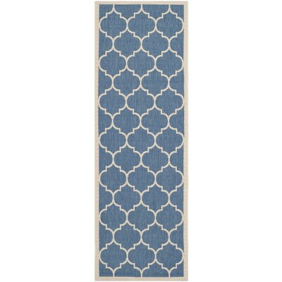 Short Blue/Beige Indoor/Outdoor Area Rug Rug Size: Runner 23 x 14
