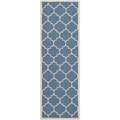 Short Blue/Beige Indoor/Outdoor Area Rug Rug Size: Runner 23 x 67