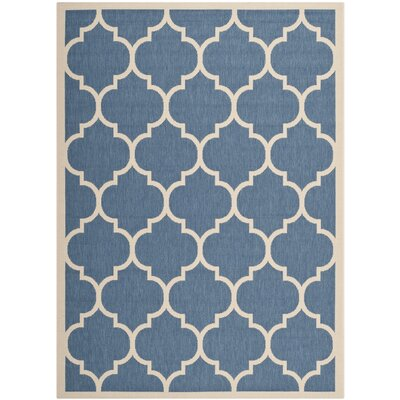 Short Blue/Beige Outdoor Area Rug Rug Size: 53 x 77