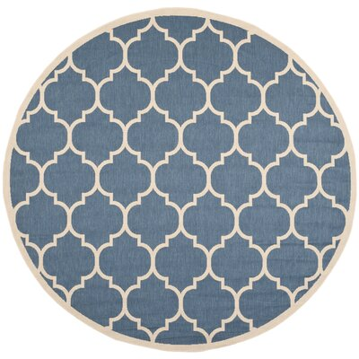 Short Blue/Beige Indoor/Outdoor Area Rug Rug Size: Round 7'10
