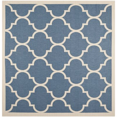 Short Blue/Beige Indoor/Outdoor Area Rug Rug Size: Square 710